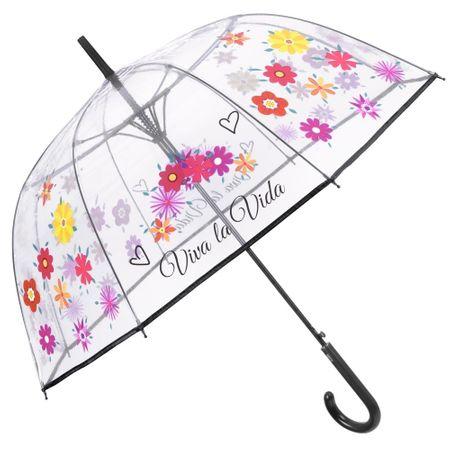 прозрачен флорален чадър